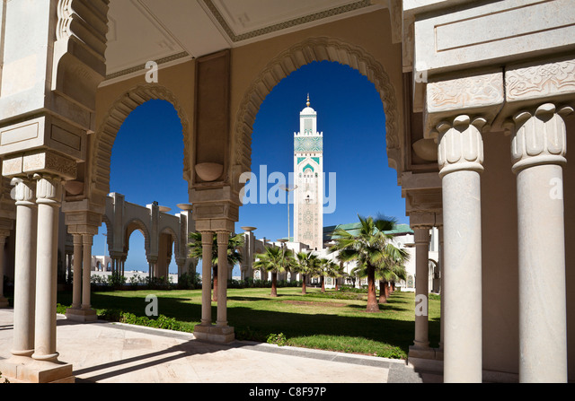 Morocco, North Africa, Africa, Casablanca, Hassan II, mosque, highest, top, minaret, 210 ms - Stock Image