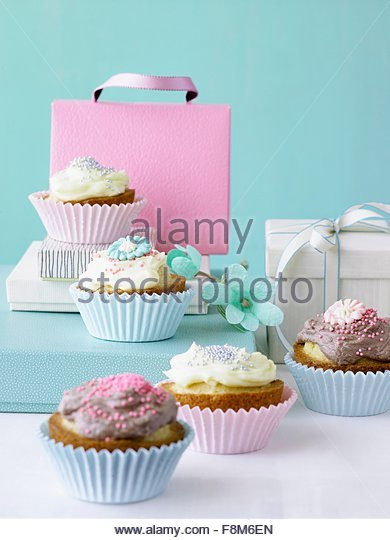 Fairy cake with vanilla and chocolate cream - Stock Image