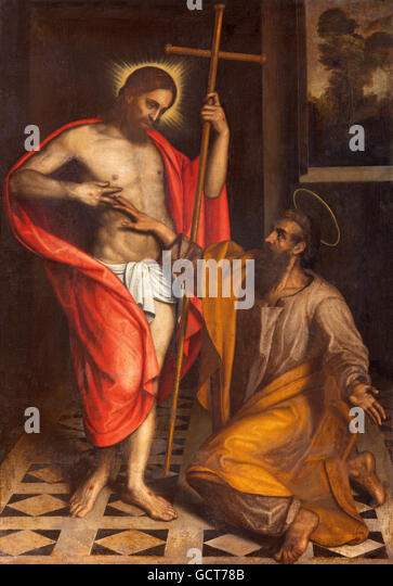BRESCIA, ITALY - MAY 22, 2016: Painting  The Doubt of St. Thomas in church Chiesa di San Faustino e Giovita by unknown - Stock Image