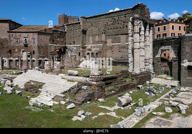 The Forum of Augustus - one of the Imperial forums of Rome, Italy, built by Augustus. It includes the Temple of - Stock Image