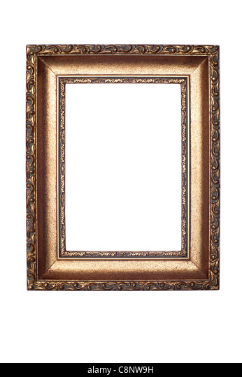 A decorative antique picture frame isolated on white for use horizontally or vertically. - Stock Image