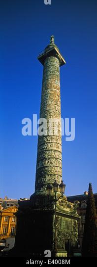 The Austerlitz Column in the Place Vendôme in Paris's 1st arrondissement - Stock Image