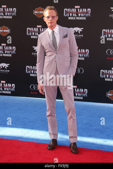Hollywood, CA, USA. 12th Apr, 2016. 12 April 2016 - Hollywood, California - Paul Bettany. ''Captain America: - Stock Image