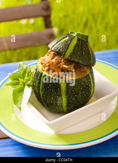 Pine fruits Stuffed Zucchini - Stock Image