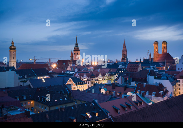 Germany, Bayern/Bavaria, Munich, Old Town Munich from Mandarin-Oriental Hotel - Stock Image