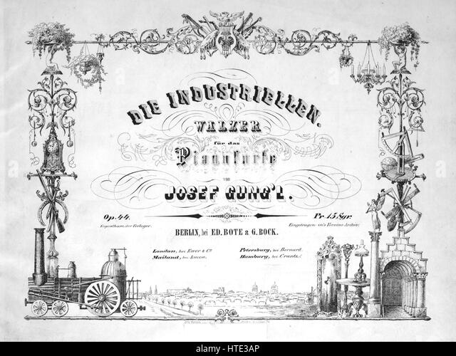 Sheet music cover image of the song 'Die Industriellen Walzer fur das Pianoforte', with original authorship - Stock Image