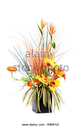 Exotic flower display in wax pot - Stock Image