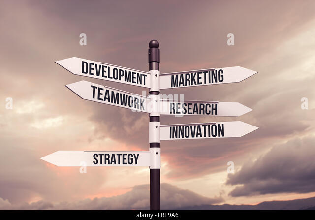 Business,strategy,marketing,development concept with road sign - Stock Image