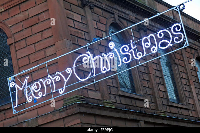 Merry Christmas from Warrington, Sankey St, Cheshire, England, UK - Stock Image