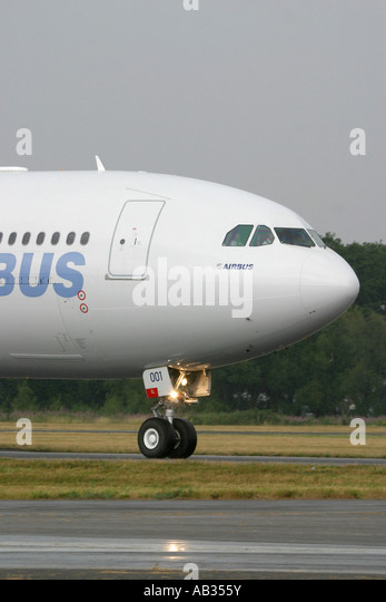 Close-up of commercial passenger airplane Airbus A340-600 - Stock Image