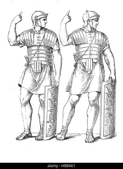 soldier with Body armor, antique Rome, from the Trajan's Column, History of fashion, costume story - Stock Image