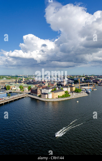 Gamla Stan - Old Town - from the City Hall Tower, Stockholm, Sweden. - Stock Image