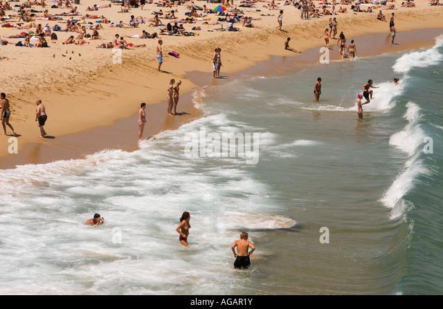 Spain Barcelona beach Platja de la Barceloneta - Stock Image