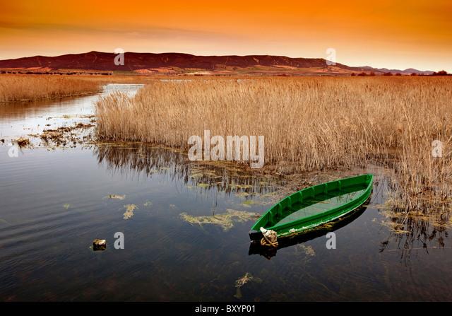Barca en el Parque Nacional de Las Tablas de Daimiel Ciudad Real Castilla La Mancha España boat National Park - Stock-Bilder
