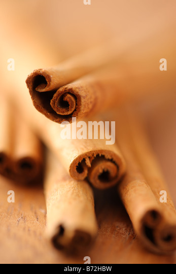 Cinnamon sticks selective focus - Stock Image