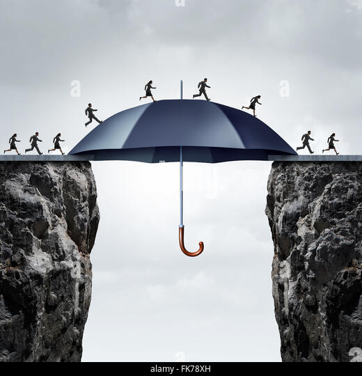 Security bridge concept as business people running across two high cliffs with the help of a safe giant umbrella - Stock Image