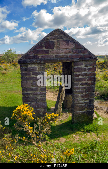 The Caratacus Stone on Exmoor, Somerset, England, is an inscribed stone thought to date from the 6th Century. - Stock Image