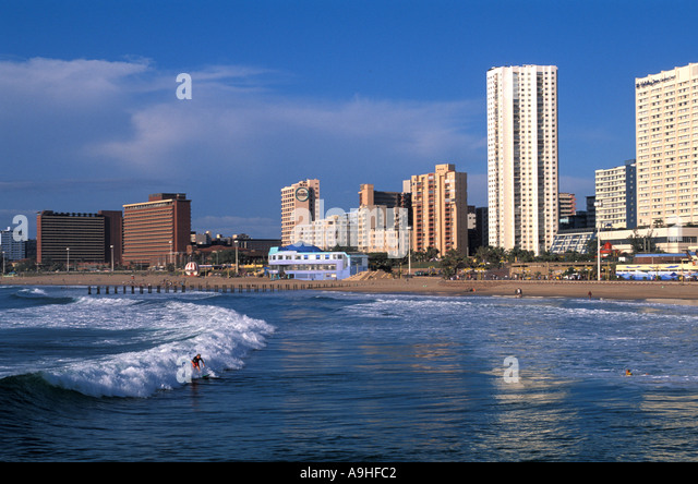 South Africa Durban Beach at The Golden Mile - Stock Image