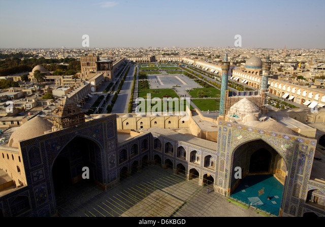 View from the great minaret over the Royal Square, UNESCO Site, Grand Mosque, Isfahan, Iran, Middle East - Stock Image