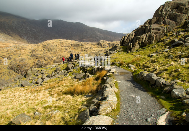 The Pyg track near Pen-y-Pass, Snowdon, Snowdonia, North Wales, UK - Stock Image