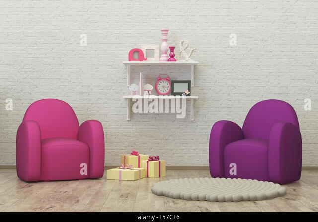 kids room interior 3d render image, pouf, presents - Stock Image