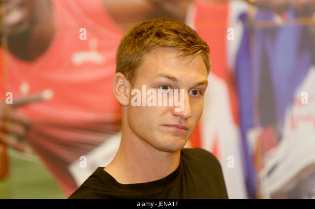 Ostrava, Czech Republic. 27th June, 2017. Javelin thrower Thomas Rohler (Germany) attends the press conference prior - Stock-Bilder