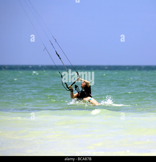 Kite surfing on Holbox island, Quintana Roo, Yucatán Peninsula, Mexico, a unique Mexican destination in the - Stock Image