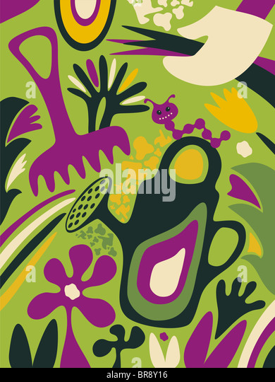 A whimsical illustration about gardening - Stock-Bilder