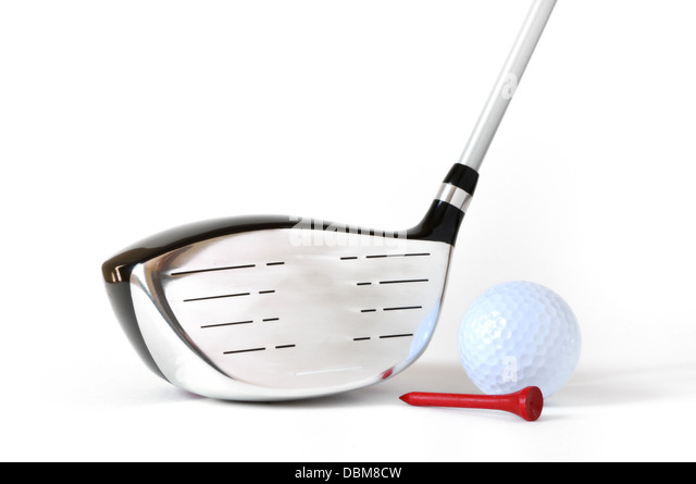 Driver, Golf Ball, and Red Tee isolated on a white background - Stock Image