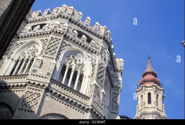 Spain, Zaragoza. La Seo, Mixture Of Architectural Styles. - Stock-Bilder