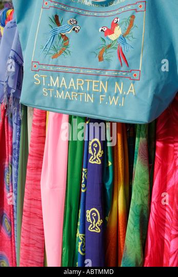 Sint Maarten Philipsburg Dutch fabric for sale duty free embroidered souvenir bag - Stock Image