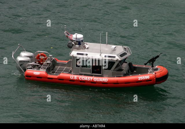 Puerto Rico San Juan US Coast Guard patrol boat gun homeland security - Stock Image