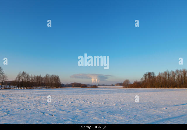 Carbon dioxide emission into atmosphere - Stock Image