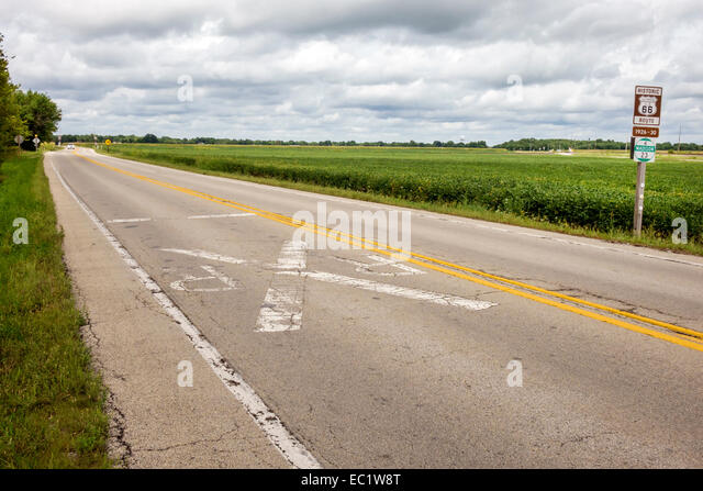 Illinois Staunton Historic Route 66 rural scenery - Stock Image