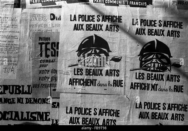 Events of May 1968 -  France / Ile-de-France (region)  -  Events of May 1968 -  Poster against the french police - Stock Image