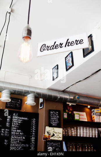 Order here sign in restaurant - Stock Image