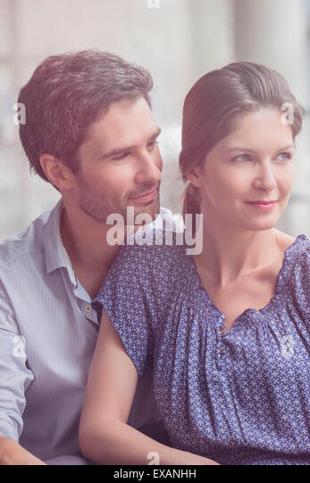 Couple relaxing together at home - Stock-Bilder