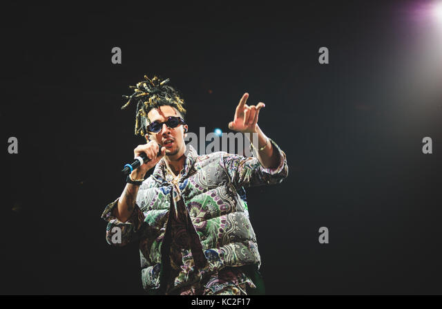 Torino, Italy. 30th Sep, 2017. The Italian rapper Ghali performing live on stage at the Officine grandi Riparazioni. - Stock Image