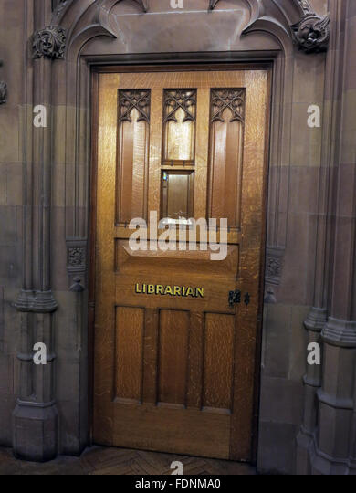 John Rylands Library Interior,Deansgate,Manchester,England,UK - The Librarian Door - Stock Image