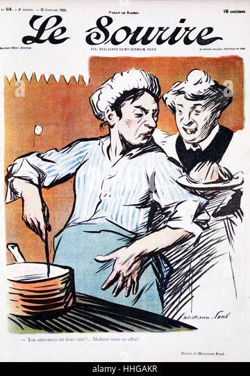 Cover illustration from the French magazine, 'le sourire' (the smile), showing two domestic cooks at a stove - Stock Image