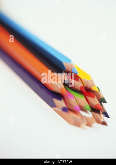A bundle of coloured pencils, close-up - Stock Image