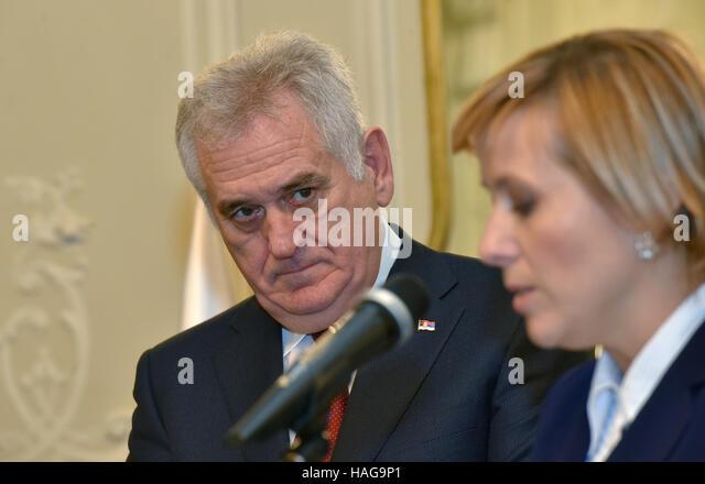Grandhotel Pupp, Karlovy Vary. 30th Nov, 2016. Serbian President Tomislav Nikolic (left) with his wife Dragica (not - Stock-Bilder