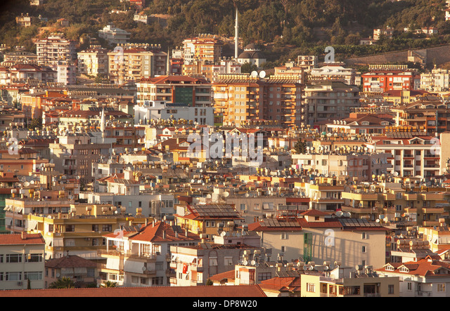 Water heaters and satellite antennas. Features of modern architecture in Alanya city, Turkey. Canon 5D Mk II. - Stock Image