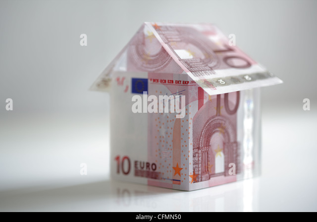 House made from European union currency - Stock Image