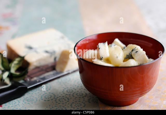 Gnocchi with Gorgonzola cheese - Stock Image