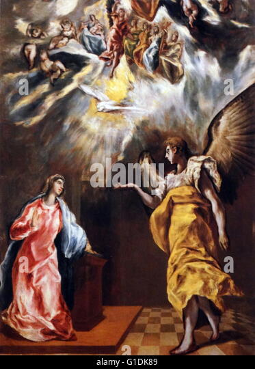 Painting titled 'Concert of the Angels'. Dated 17th Century - Stock Image