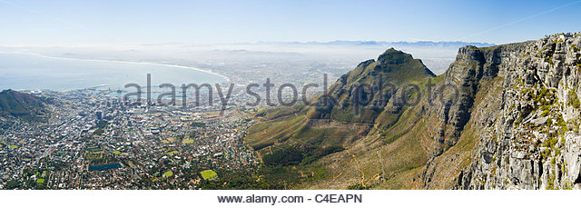 View from Table Mountain over Cape Town and Table Bay - Stock Image