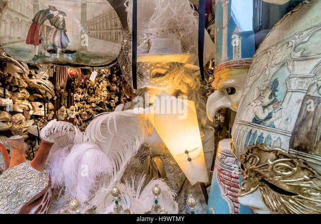 Venetian masks shop, Ca del Sol, Venezia, Venice, Venedig, Italia, Europe, - Stock Image