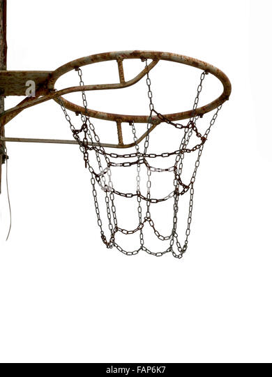 Rusty old net attached to wall. Sports equipment unused. Isolated on white. - Stock Image