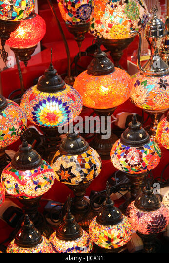 Beautiful traditional lamps hand painted painted with bright colors in traditional Arabic design. - Stock Image